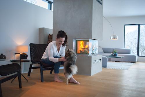 BILDE: Med flammer i peisen og varme i oppholdsrommet kan både tobeinte og firebeinte kose seg.