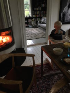 BILDE: Herman koser seg foran peisen.